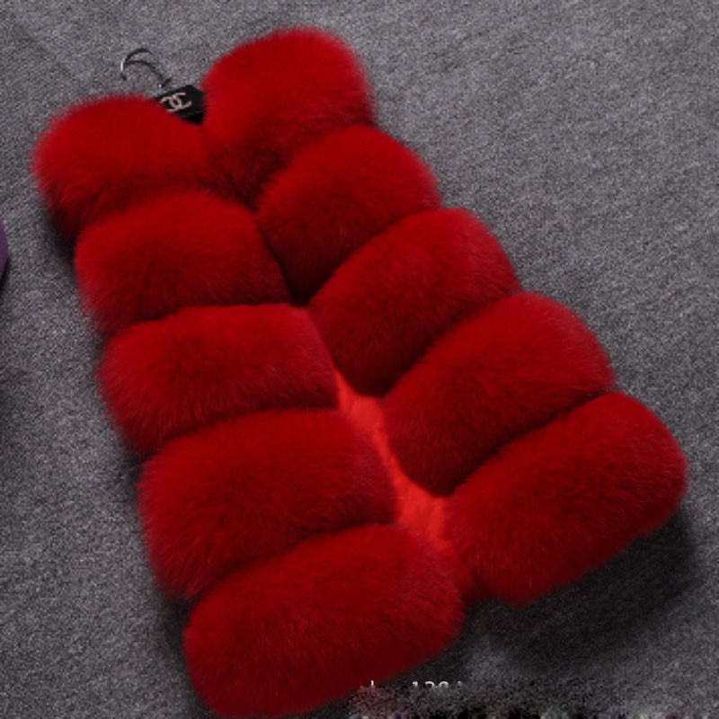 New Faux Fur Warm Vest Autumn Winter Jacket Coats for Women Fashion Female Imitation Faux Fox Fur Vest Waistcoat Outerwear curved faux fur vest