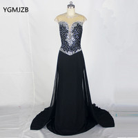 Sexy Long Evening Dress 2018 Mermaid Sheer Scoop Beaded Crystal Backless Black Women Formal Long Prom Dress Evening Party Gowns