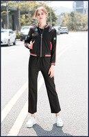 Новинка 2018 г. осенние женские куртки Пальто повседневные штаны комплект из двух предметов шикарный Женский свитшот штаны uits D752