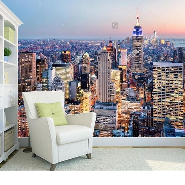 Custom landschap behang, new york, 3d photo mural voor woonkamer ...