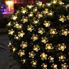 50 LEDS Flor de melocotón lámpara Solar 7 M energía LED cadena hadas luces Solar Garland jardín decoración de Navidad para al aire libre