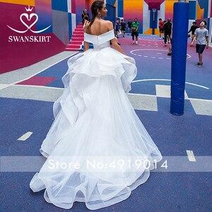 Image 3 - Mode 2 In 1 Trouwjurk Satin Mermaid Off Shoulder Afneembare Trein Bruid Gown Prinses Swanskirt F139 Vestido De Noiva