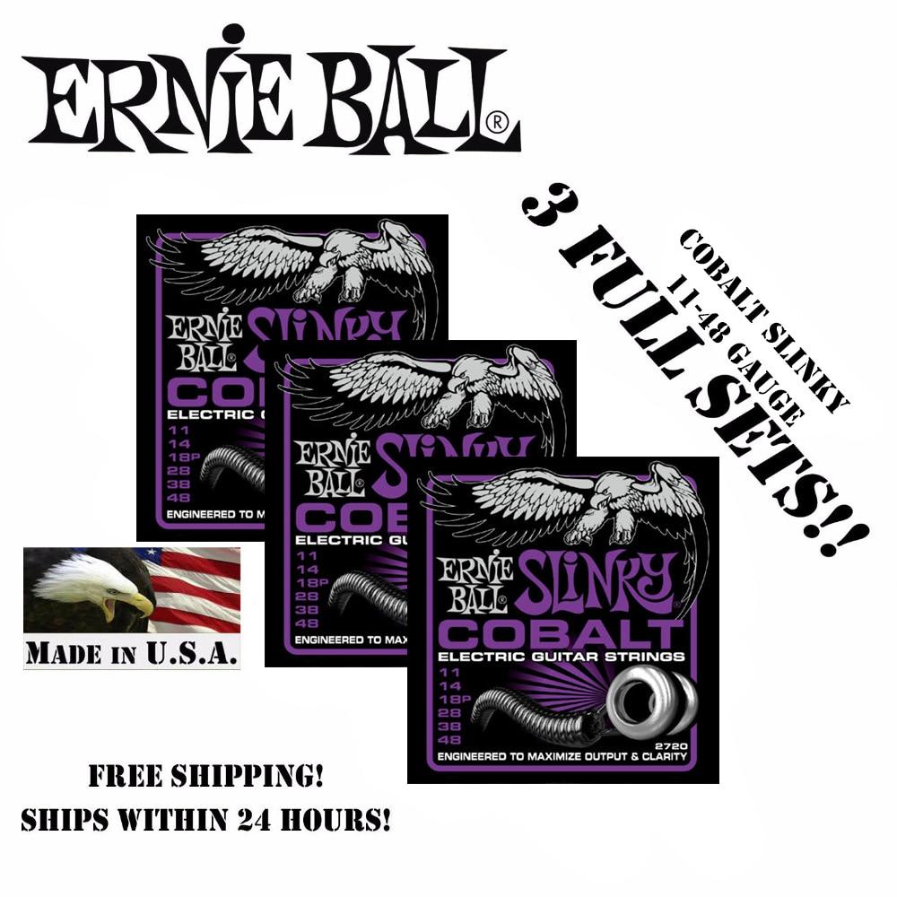 3 Packs! Original Ernie Ball 2720 Cobalt Power Slinky Electric Guitar Strings 11-48