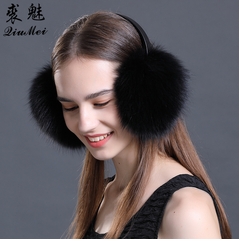 Real Fur Earmuffs Winter Accessories Women Ear Cover Protector Cute Pink Ear Warmer Solid Ladies Real Fox Fur Raccoon Ear Muffs
