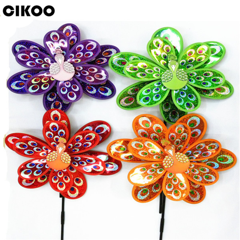 CIKOO 1Pc Hot Double Layer Peacock Laser Sequins Windmill Colorful Wind Spinner Kids Toy ...