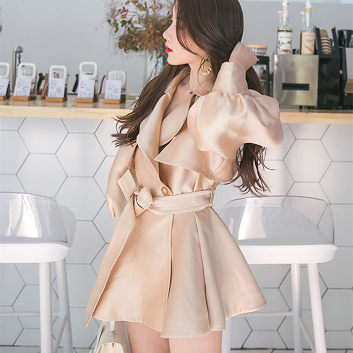 2018 Winter New Fashion Women   Trench   Coat Double Breasted Peplum Coat Lantern Sleeve Slim Sash Belted Autumn Coat Outwear