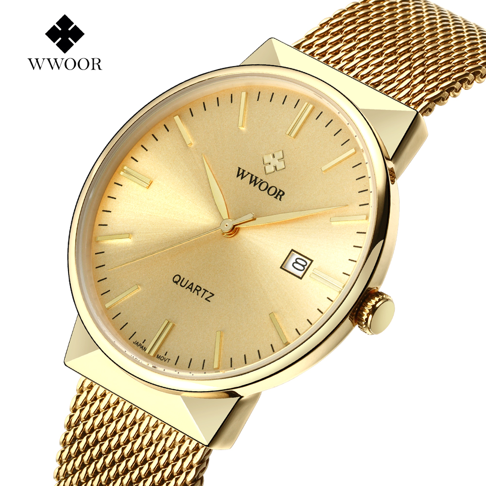 Fashion Casual Quartz watch Men Luxury brand WWOOR Watches Men Stainless Steel Mesh Strap Thin Dial Clock Man relogio masculino bgg brand creative two turntables dial women men watch stainless mesh boy girl casual quartz watch students watch relogio