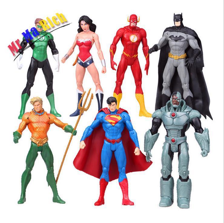 Anime 7pcs/set Superheroes Batman Green Lantern Flash Superman Wonder Woman Pvc Action Figures Kids Toys Dolls Gifts For Girls Action & Toy Figures