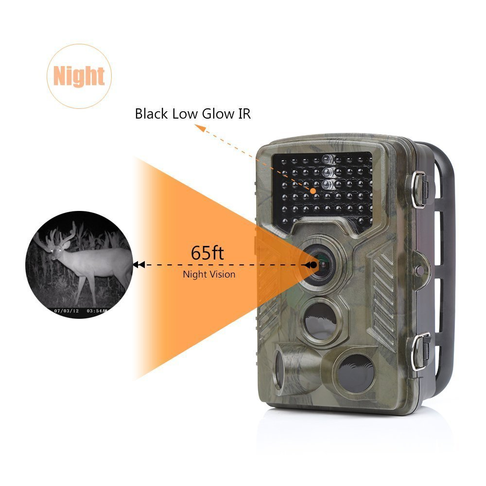 1080P 12MP Game and Trail camera for Deer Hunting No Glow Infrared Scouting Camera Night Vision max to 82ft with 2.4 LCD Screen image