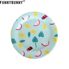 FUNNYBUNNY Summer fruit theme party decoration supplies Disposable Cartoon plate