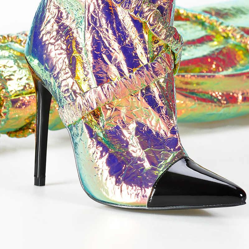 ורוד כפות ידיים סתיו חורף נעלי נשים מעל הברך מגפי נשים ירך גבוהה עקבים מחודדת הבוהן להחליק על אופנה סקסי ייחודי מגפיים