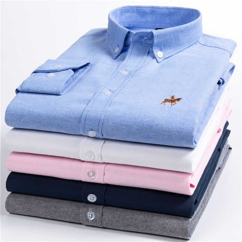 2019 Summer Fashion Long Sleeve Embroidery Printed Men's Shirts Regular Slim Fit Social Dress Men Shirt Cotton Big Size M-5XL