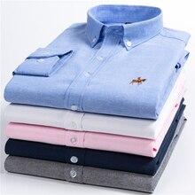 2019 Summer Fashion Long Sleeve Embroidery Printed Mens Shirts Regular Slim Fit Social Dress Men Shirt cotton Big Size M 5XLCasual Shirts