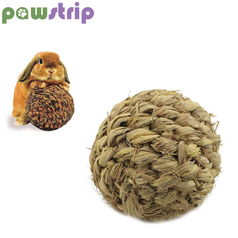 Pawstrip Diameter 10cm Grass Ball Rabbit Toys Cleaning Teeth Handmade Ball With Bell Hamster Toys Pet Chew Toy Guinea Bunny Toys