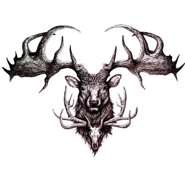 Us 099 17 Offczaszka Deer Tatuaże Tymczasowe Tatuaże Zmywalne Naklejki Body Art Wodoodporna Wysokiej Jakości Henna Tatuaże Piękno Tatuaż Rękaw W
