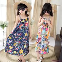 Retail Girls Flower Printed Beach Dress Summer Style 2016 Kids Girls Long Bohemian Dress Children Girls