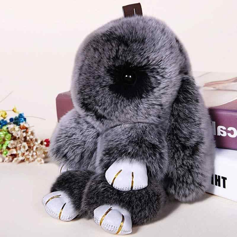 Rabbit Keychain Cute Fluffy Bunny Keychain Rex Genuine Rabbit Fur Pompom  Key Ring Pom Pom Toy 62d4bf854f6c1