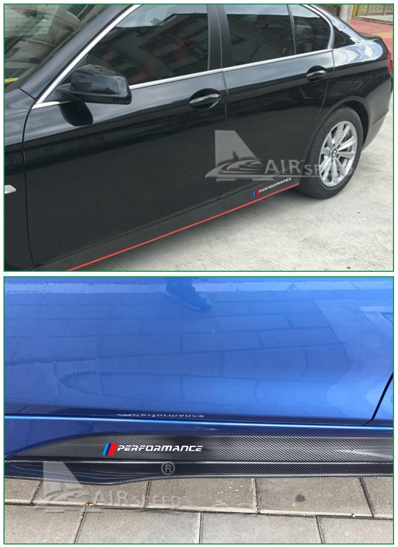 M Performance Side Skirt 5D CARBON FIBER Sticker For BMW E90 E60 F10 E86 Z4 M3