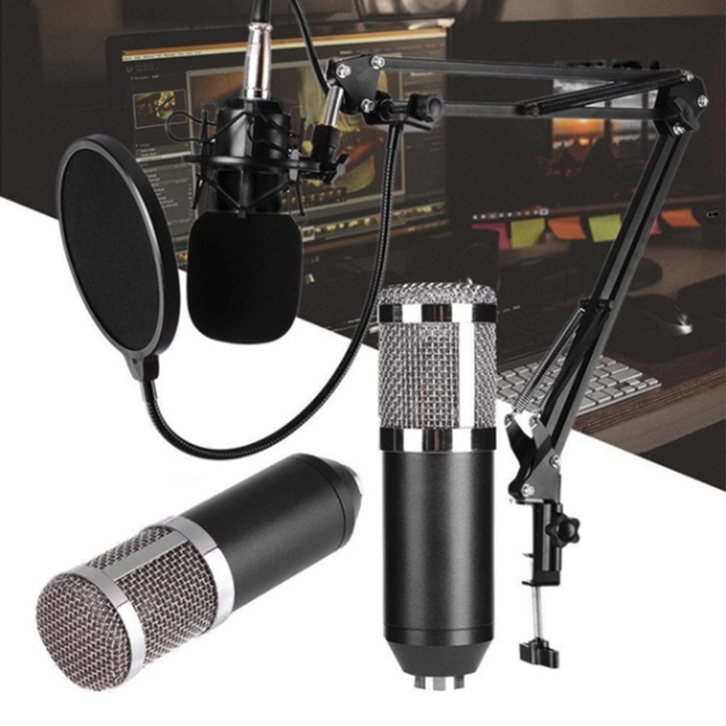 <font><b>BM800</b></font> <font><b>Mikrofon</b></font> Condenser Sound Recording BM 800 Microphone With Shock Mount For Radio Braodcasting Singing Recording KTV Karaoke image