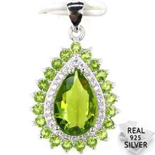 Guaranteed Real 925 Solid Sterling Silver 2.5g Romantic Drop Shape Green Peridot CZ Engagement Pendant 27x16