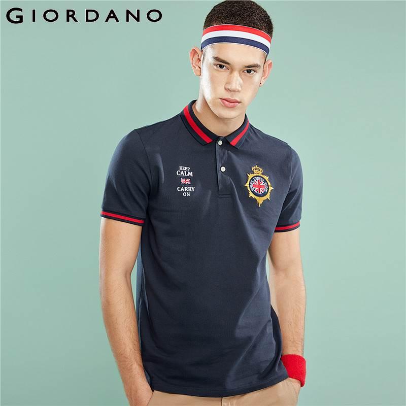 Giordano Men   Polo   Shirt Men Pique Embroidery Badge Slim Fit   Polo   Men Shirt Cotton Spandex Stretchy Camisa   Polo   Summer