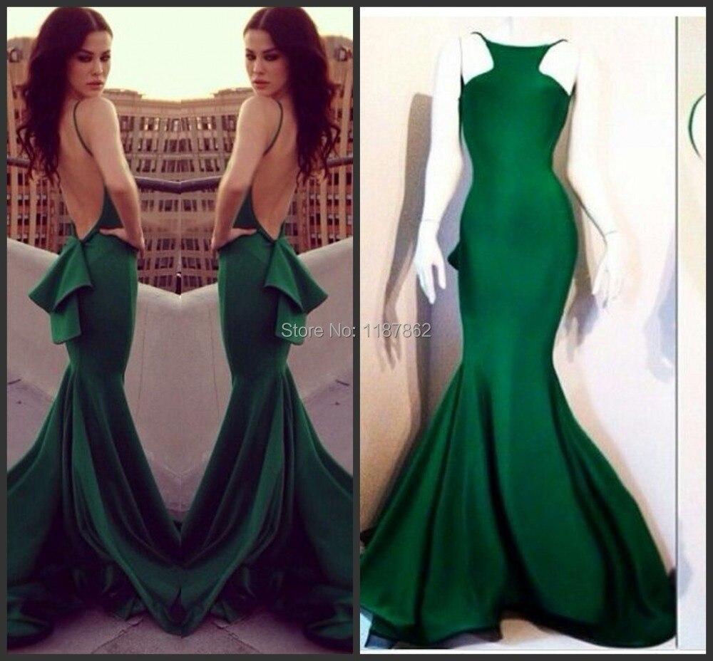 a16933af4b6e3 ED-0554 Custom Made Emerald Green Evening Dresses 2014 Sexy Open Back  Backless Evening Dress Vestido De Festa Longo Evening Gown