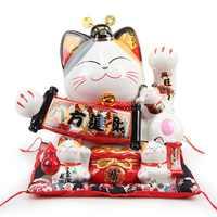 日本大ラッキー猫の装飾セラミック貯金箱クリエイティブホームデコレーションショップオープニングギフト王室猫風水インテリアクラフト