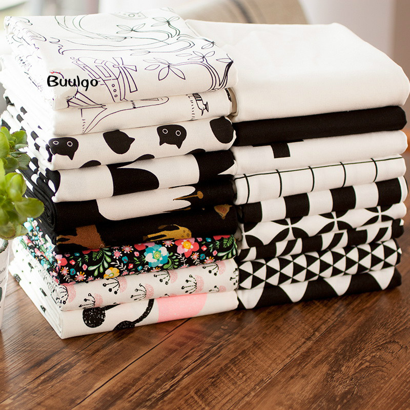 Black Series Printed Cotton Linen Fabric For Patchwork Quilting Sewing DIY Table Cloth Furniture Cover Tissue Bag Cushion Fabric in Fabric from Home Garden