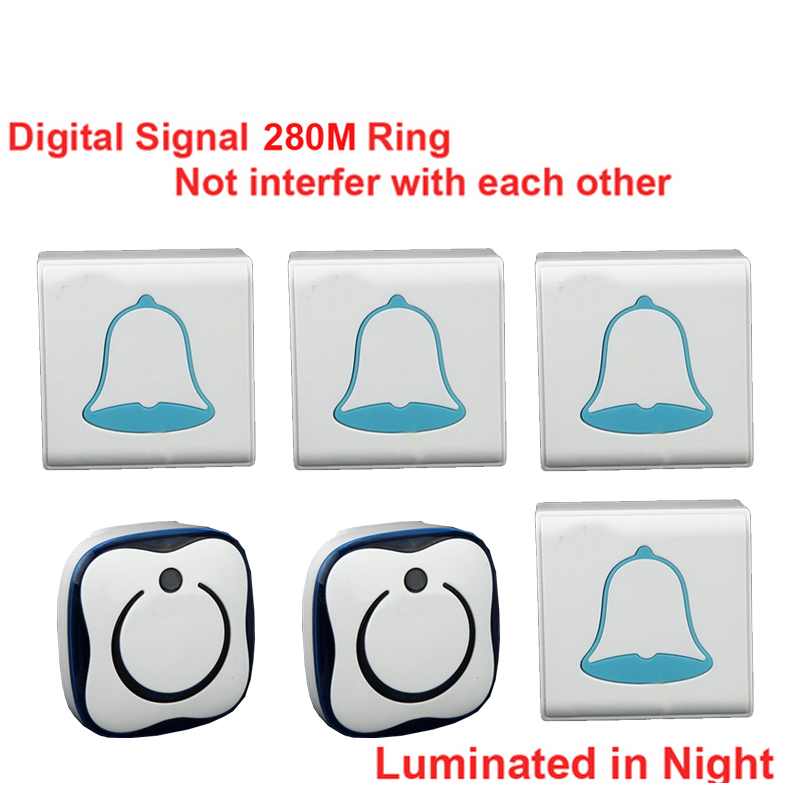 280M & 5 wall work 4 emitters+2 receivers bell wireless doorbell Waterproof wireless door chime,wireless bell,music door bell 2 receivers 60 buzzers wireless restaurant buzzer caller table call calling button waiter pager system