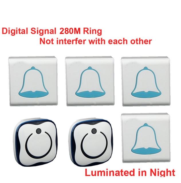 280M U0026 5 Wall Work 4 Emitters+2 Receivers Bell Wireless Doorbell Waterproof Wireless  Door