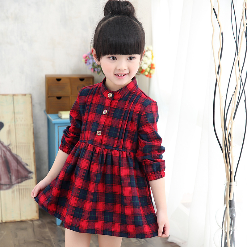 2016 Kids Dress Autumn Winter Dresses England Style Long Sleeve Plaid Turtleneck Girl Vintage Party Princess Gown For Kid