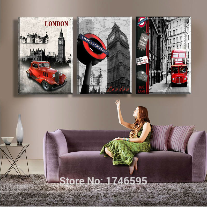 Big 3pieces Modern living room home decor abstract Wall Art Picture printed London City Scenery oil Painting on Canvas art print