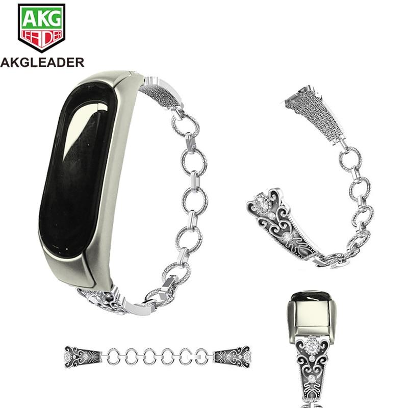 AKGLEADER For Xiaomi Band Mi 3 Wrist Screwless Steel Metal Frame Wriststrap Folding Buckle Watchband