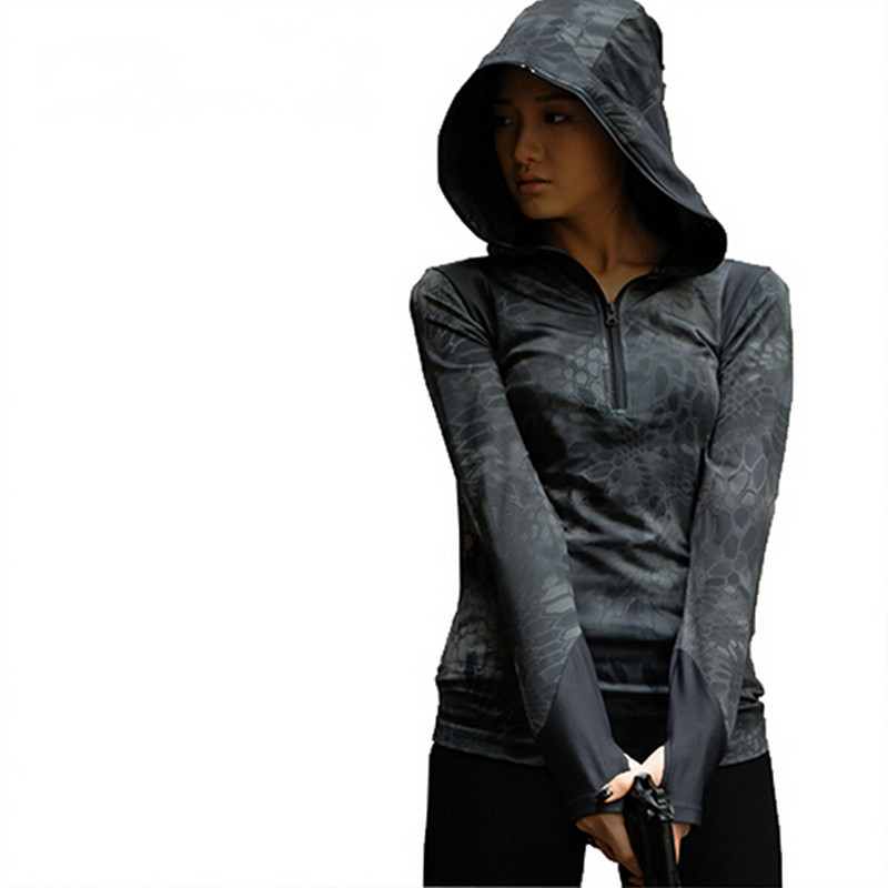 New Women Tactical Hood T shirt Long Sleeve Camouflage Elastic Breathable Hoodie T shirt Combat CS