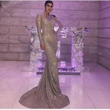 2019 Silver Shiny Glitters Mesh Long Sleeve Bridesmaid Dress
