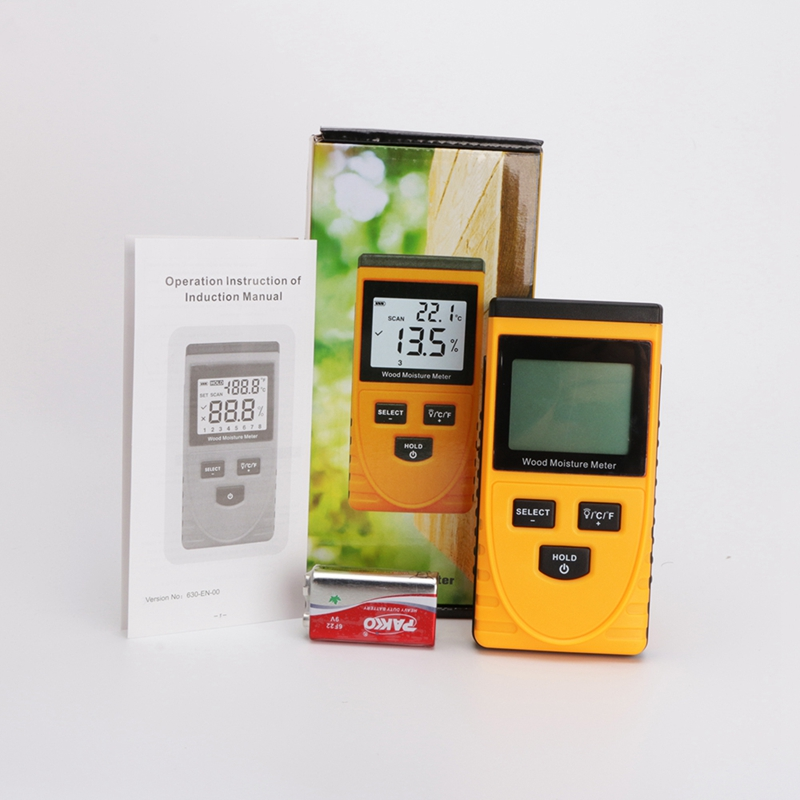 Digital LCD Induction Wood Moisture Meter 0~50% Wood Water Content Tester 0-50 Degrees Wood Thermometer Hygrometer With Backlit md918 digital 2 2 lcd induction wood moisture tester dark blue black 3 x aaa
