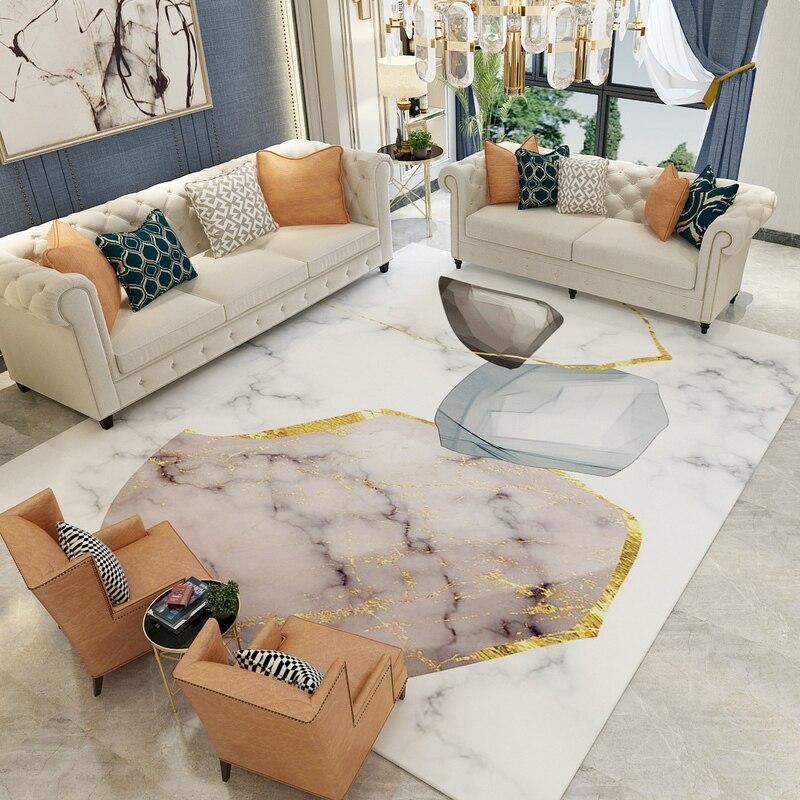 European Imitation marble carpet plush non-slip livingroom floormat bedroom rug bathroom door mat custom made 2x3m