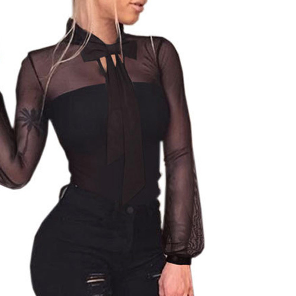 New Women Transparent Tops Sexy Cut Out Lace Bodysuits Solid Body Top Casual Long Sleeve Jumpsuit Playsuits And Jumpsuits 2019