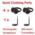 Competir sistema Silent Disco negro led auriculares inalámbricos Silencioso Clubbing Party Bundle (4 Auriculares + 1 Transmisores)