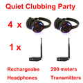 Silent Disco compete system black led wireless headphones - Quiet Clubbing Party Bundle (4 Headphones + 1 Transmitters)