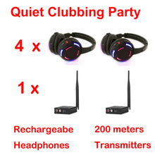 Silent Disco compete system black led wireless headphones – Quiet Clubbing Party Bundle (4 Headphones + 1 Transmitters)