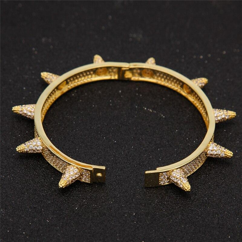 Gothique Punk glacé Micro Pave cubique zircone Rivet bracelets pour hommes Hip Hop or plein cristal pointes Bling bracelets pour femme