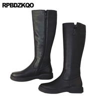 Platform Ladies Long Slim Black Shoes Round Toe Sexy Flat Female Riding Side Zip Boots Knee