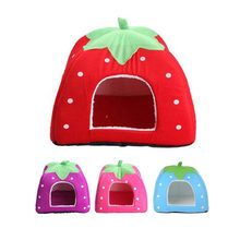 Pet Dog House For Dogs For Small Dog Foldable Cat Dog Kennel Houses Strawberry Shape Doghouse Nest Bed Supplier Pet Shop(China)