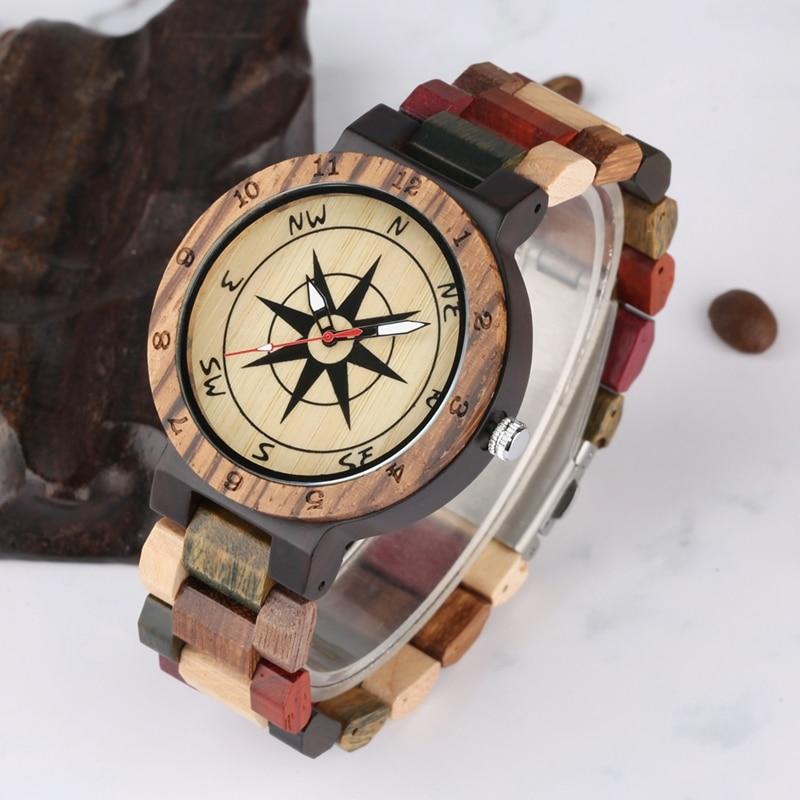 Creative Compass Dial Wood Watch Men Bamboo Watch Male Clocks Retro Full Wooden Wrist Quartz Watch Top Luxury Mens Watches 2019 2020 2022 2023 (6)