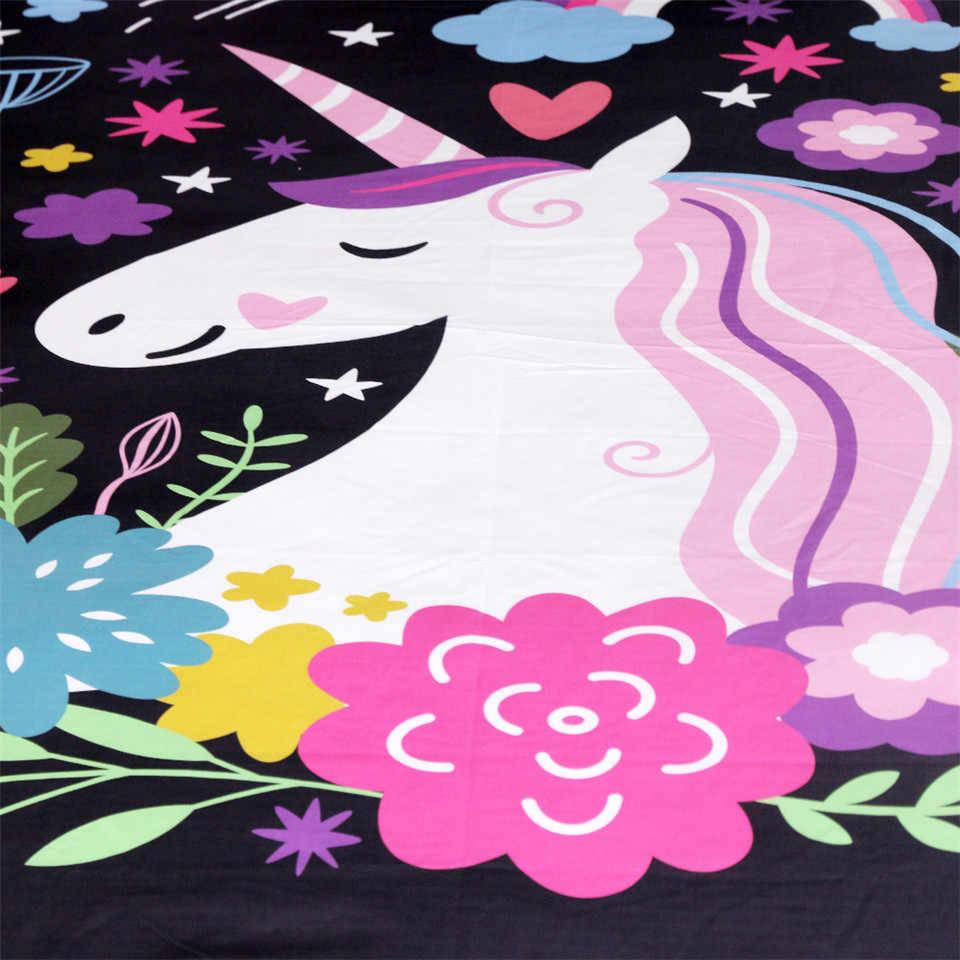 Постельные принадлежности, наволочки для подушек с единорогом, декоративные наволочки с рисунком для детей, милые наволочки для девочек, цветочные черные постельные принадлежности, 2 шт.