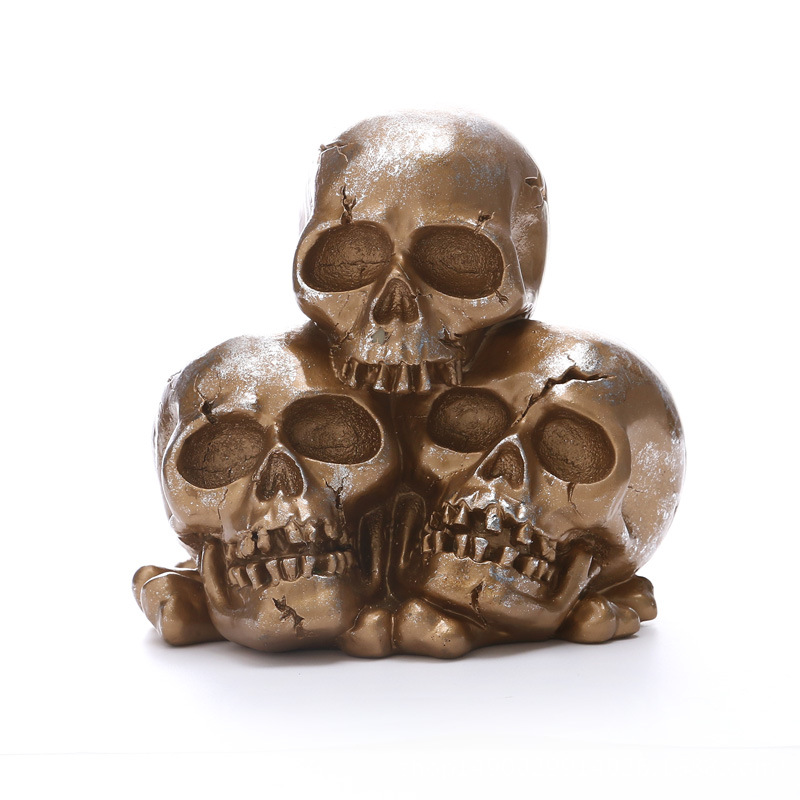 Creative Horror Home Decor Crafts No. 3 Skull Resin Statue Sculpture Bar Party Halloween Decoration Model Art Gift