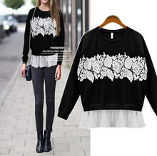 Discount in spring and autumn the new long sleeve chiffon lace stitching bat sleeve Sweatershirts woman colthing