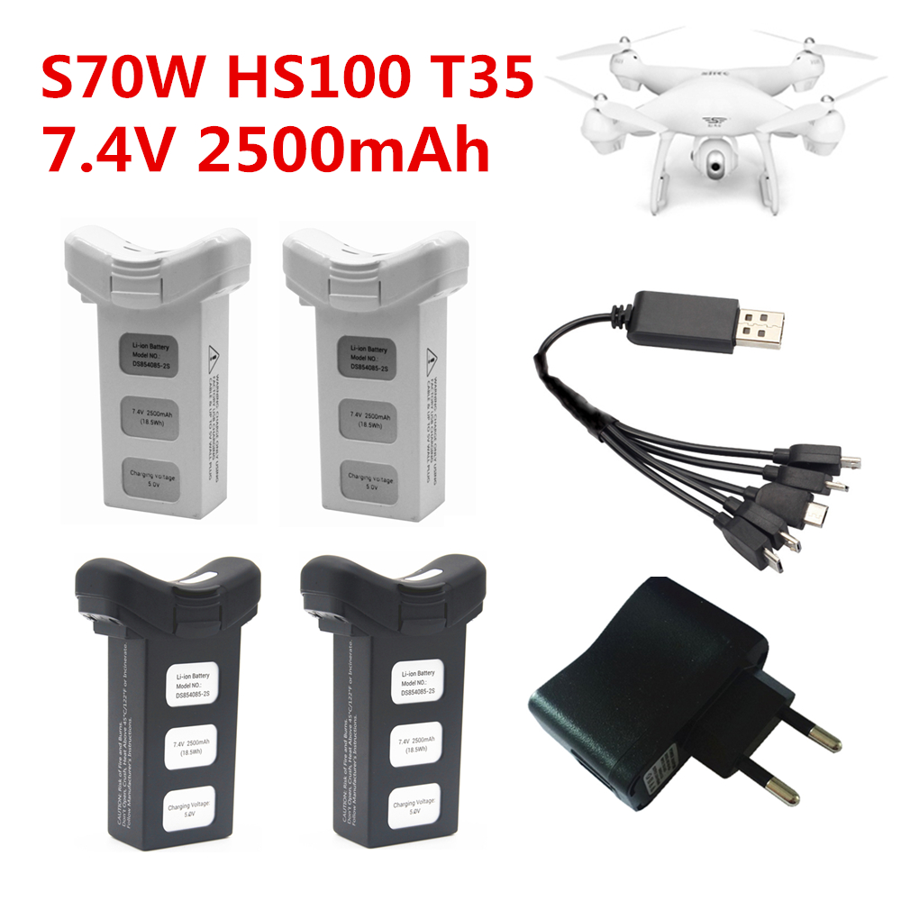 Original Battery 7.4V 2500mAh Lipo Battery For S70W S70  HS100  RC Dorne Quadcopter With 5 In 1 Charger For  S70W S70  HS100