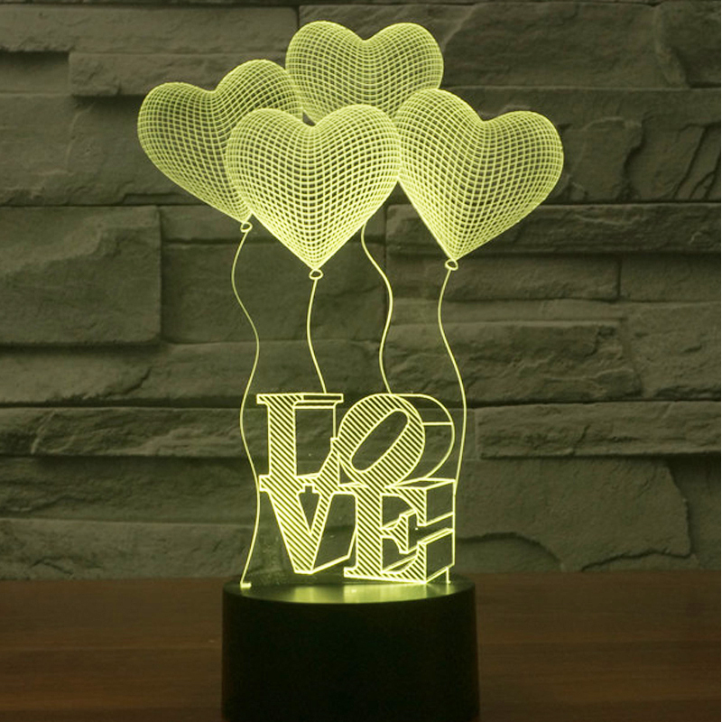 3D LED Night Lights Love Balloon with 7 Colors Light for Home Decoration Lamp Amazing Visualization Optical Illusion Awesome